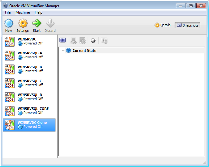 VirtualBox Snapshots Screen
