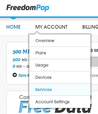 FreedomPop Cancel Premier Menu