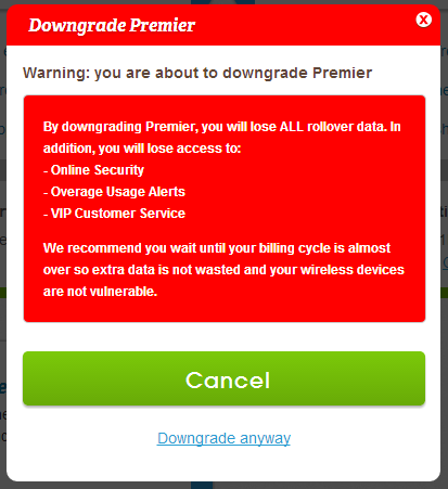 FreedomPop Cancel Premier Pop Up